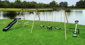 Metal swing set installation